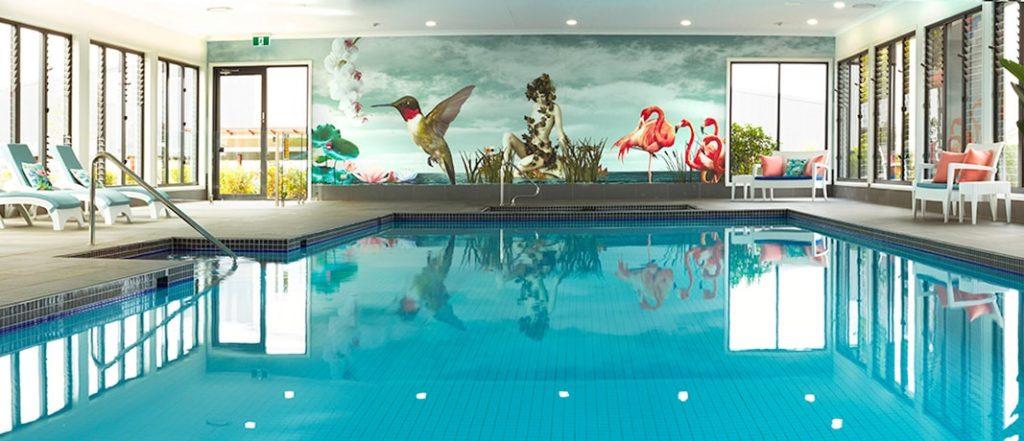 Custom wallpaper Melbourne at swimming pool, wall art in Melbourne at swimming pool